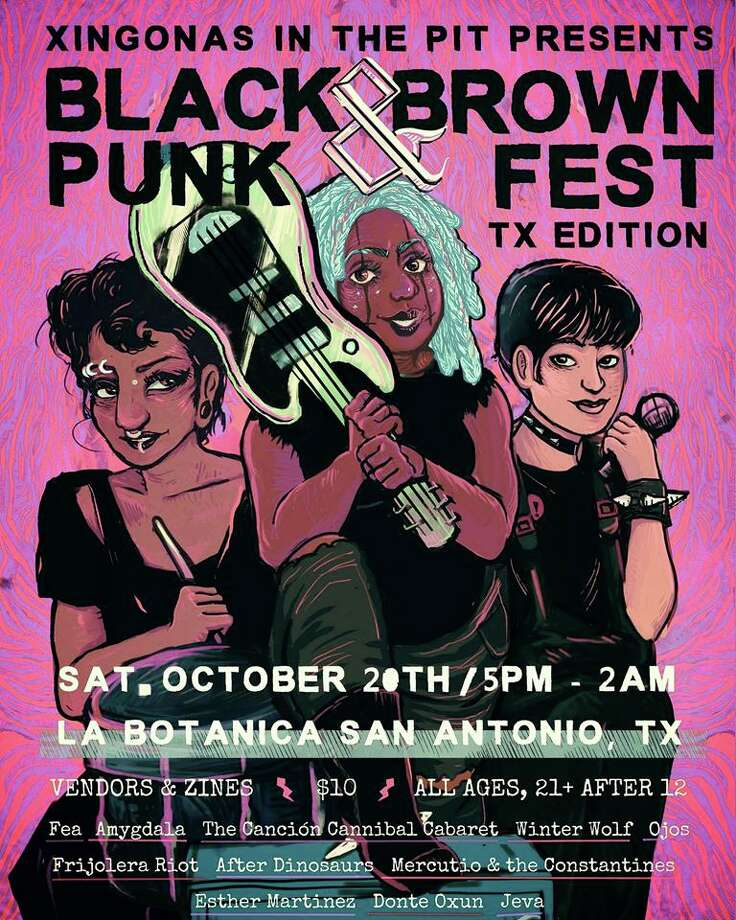 "Daisy Salinas just moved to town a year ago, but is leading the charge in creating the Black and Brown Punk Fest happening at La Botanica on the St. Mary's Strip. The event is the third installment of Xingonas in the Pit, a San Antonio group Salinas founded to celebrate ""mujer and nonbinary artists of culture."" Photo: Courtesy, Diana Belen"