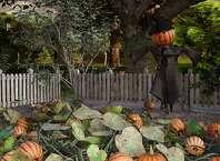 Scarecrow with a pumpkin head in a pumpkin patch, 3d render.