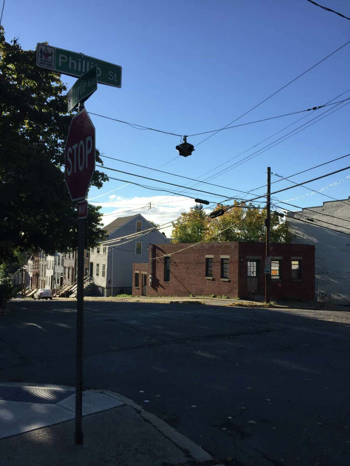 A building at the corner of Philip Street and Myrtle Avenue in Albany stands without a roof Tuesday, Oct. 16, 2018. The owners plan to rehabilitate the building and turn it into a single-family home.