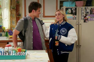 """In ABC's """"American Housewife,"""" Season 3, Episode 2, Kate Otto rips into Taylor for wearing her boyfriend's jacket, a sign of the patriarchy. (Image is from the opening of the episode, aired October 3rd on ABC, credit Kapital Entertainment and ABC Studios)"""