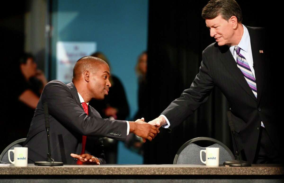 19th Congressional District candidate Antonio Delgado, left, and incumbent John Faso during their debate on Friday, Oct. 19, 2018. (Skip Dickstein/Times Union)