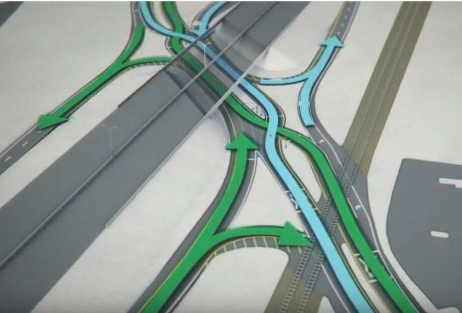 "The intersection of U.S. 281 with Jones Maltsberger would be turned into something engineers call a ""diverging diamond interchange,"" or DDI. Photo: TXDOT"