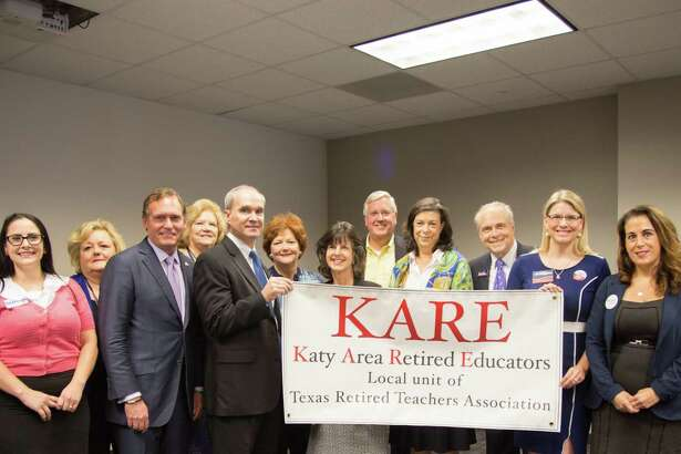 "Pictured here from the Oct. 10, 2018, Katy Area Retired Educators meeting are Karen Thornton, Andrea Duhon, May Dell Jenks, Earlene Hopkins, John Zerwas, Mike Schofield, Marsha Smith, Valeree Swanson, Mike Collier, Rita Lucido, John ?""Hawk?"" Hawkins, Meghan Scoggins, Gina Calanni and Dorsey Reese."