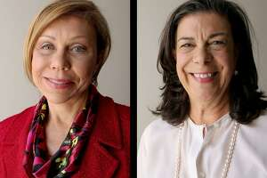 State Senate 17 candidates Joan Huffman (R), left, and Rita Lucido (D), photographed at the Houston Chronicle.