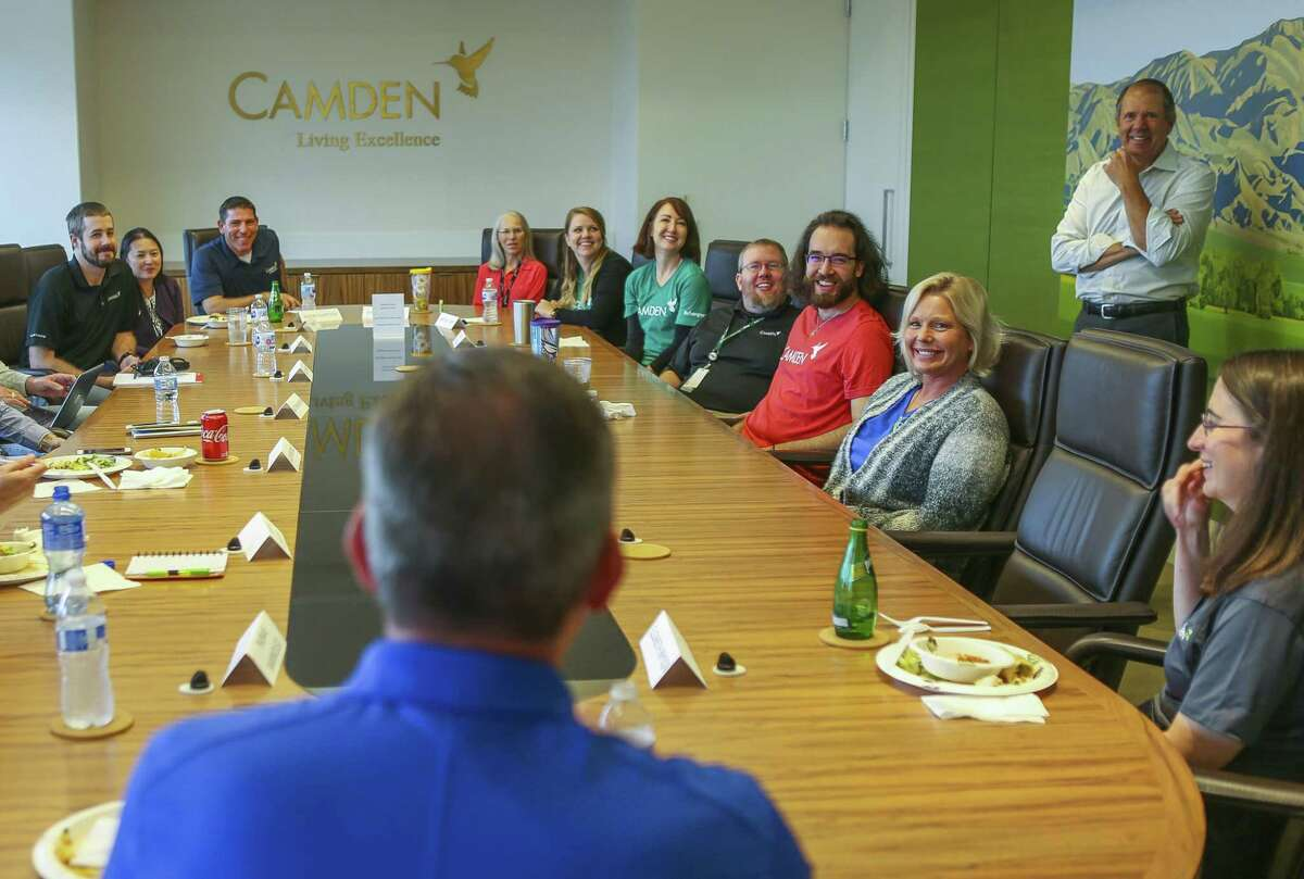Various staff members meet for a lunch that encourages employees who work in different parts of the Camden Property Trust office in Houston to get to know each other and managment, Thursday, Sept. 13, 2018, in Houston.