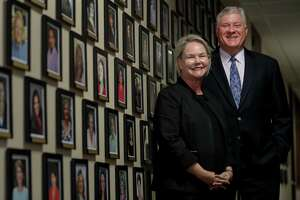 Judith Belanger, left, president and COO of Cornerstone Home Lending, Inc., and Marc Laird, chairman and CEO of the company, pose for a portrait at the company's offices, Thursday, Sept. 6, 2018, in Houston.