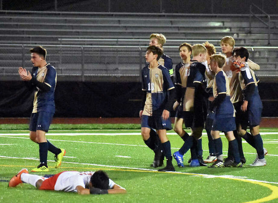 Father McGivney players celebrate after defeating Murphysboro on Wednesday in a Class 1A Belleville Althoff Sectional semifinal. Photo: Matt Kamp/Intelligencer