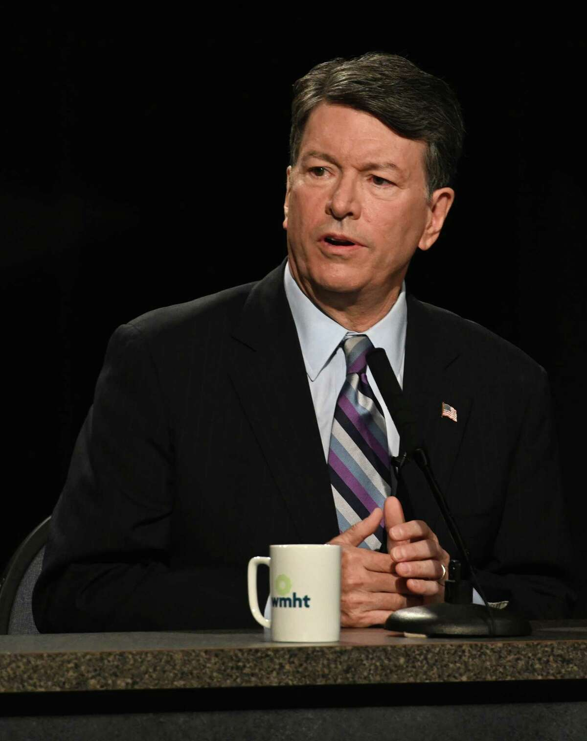 Candidate for the19th Congressional District incumbent John Faso speaks during the debate at the studios of WMHT TV Friday Oct.19, 2018 in East Greenbush, N.Y. (Skip Dickstein/Times Union)