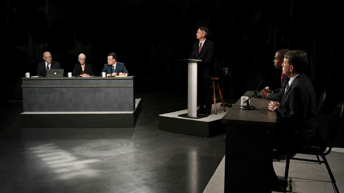 Candidates for the19th Congressional District Antonio Delgado and incumbent John Faso prepare for their debate at the studios of WMHT TV Friday Oct.19, 2018 in East Greenbush, N.Y. (Skip Dickstein/Times Union)