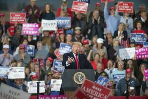 President Donald Trump speaks at a campaign rally at Minuteman Aviation Hangar in Missoula, Mont., Thursday Oct. 18, 2018. Trump is in Missoula to rally support for Senate candidate Matt Rosendale. (AP Photo/Lido VizzuttI)