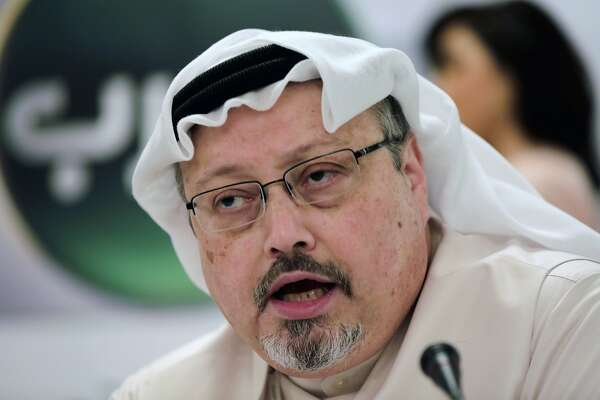 FILE - In this Feb. 1, 2015, file photo, Saudi journalist Jamal Khashoggi speaks during a news conference in Manama, Bahrain. Jamal Khashoggi was Katherine Roth's friend and mentor when she was a young reporter in Yemen in the mid-1990s. He was a perceptive guide and a much-needed bridge between political Islam and the West, Roth said. She said he changed her life and may even have saved it. (AP Photo/Hasan Jamali, File)