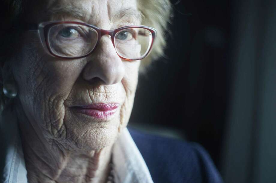 Holocaust survivor, Eva Schloss sits for her portrait inside a hotel room on Thursday Feb. 8, 2018 in Fairfax, Virginia. Photo: Mike Kepka / Contributed Photo / ONLINE_YES