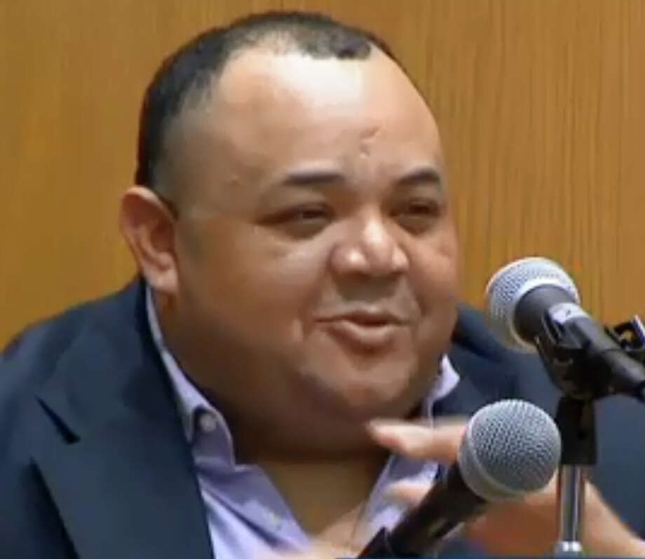 Oscar Hernandez on trial in Bridgeport, Conn. on Thursday, Oct. 18, 2018. Photo: News12, Pool / Connecticut Post Contributed
