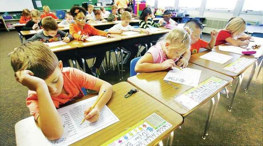 This 2016 file photo shows second grade students diligently at work at Lewis and Clark Elementary School in Wood River. Photo: John Badman | The Telegraph