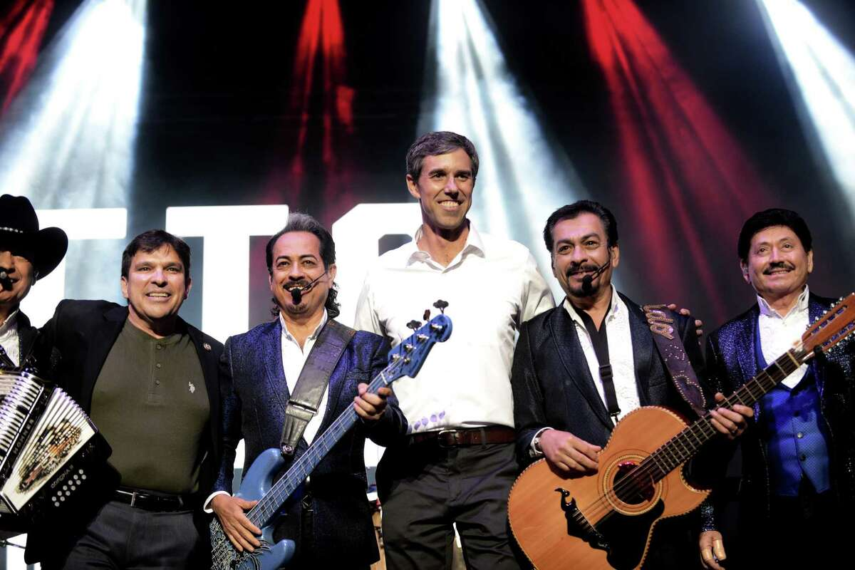 El Paso Congressman Beto O?'Rourke joins Los Tigres del Norte onstage during a concert and rally at the Bert Ogden Arena in Edinburg on Thursday, Oct. 18, 2018. Musical groups Asleep at the Wheel, Little Joe y La Familia and local mariachis also played.