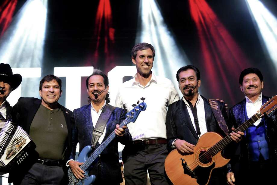 El Paso Congressman Beto O'Rourke joins Los Tigres del Norte onstage during a concert and rally at the Bert Ogden Arena in Edinburg on Thursday, Oct. 18, 2018. Musical groups Asleep at the Wheel, Little Joe y La Familia and local mariachis also played. Photo: Billy Calzada
