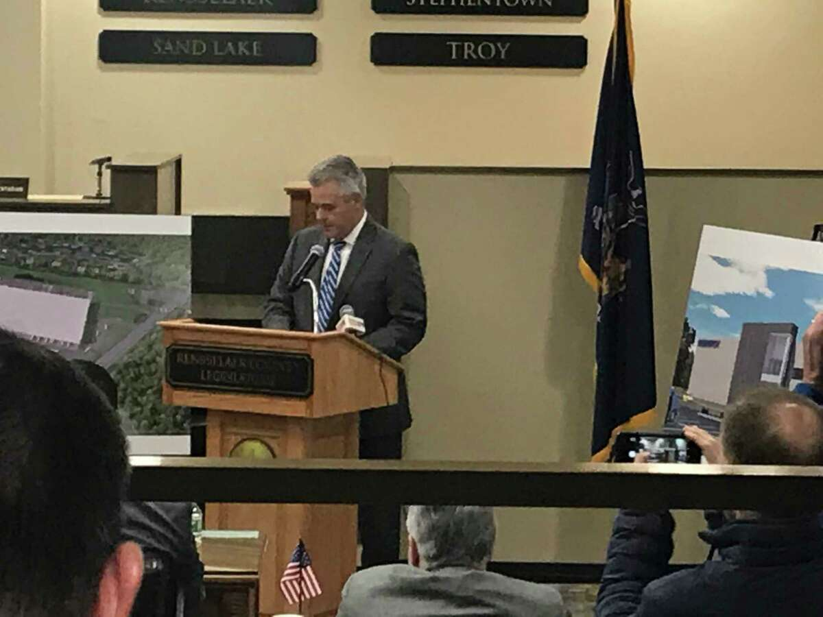 Rensselaer County Executive Steven McLaughlin delivers his budget message to explain the 2019proposed county budgetFriday Oct. 19, 2018 to the County Legislature.