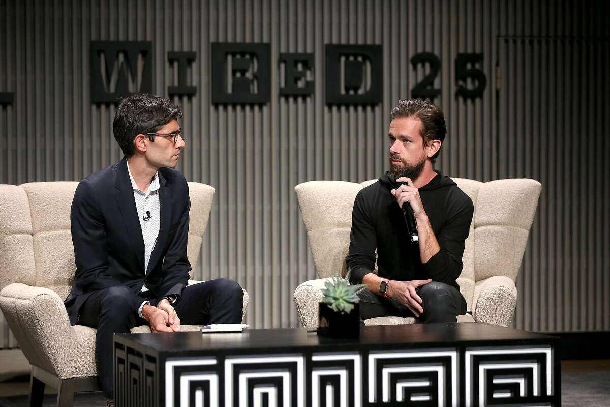 SAN FRANCISCO, CA - OCTOBER 15: Nicholas Thompson (L) and Jack Dorsey speak onstage at WIRED25 Summit: WIRED Celebrates 25th Anniversary With Tech Icons Of The Past & Future on October 15, 2018 in San Francisco, California. (Photo by Phillip Faraone/Getty Images for WIRED25 )
