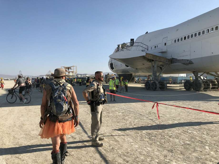 The Burning Man Camp Big Imagination used a 747 Boeing plane to create a massive art piece for the 2018 festival. The plane is now parked on private land in the Black Rock Desert. Photo: BLM
