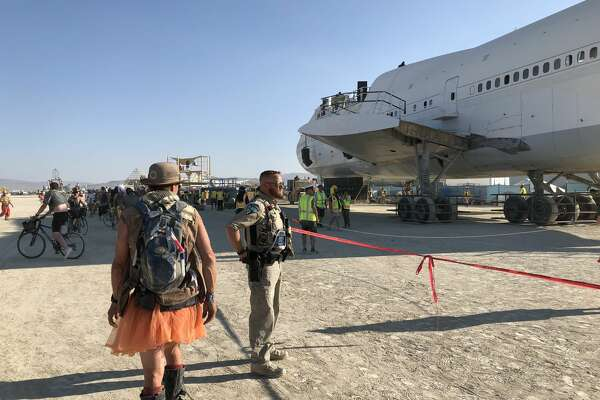 The Burning Man Camp Big Imagination used a 747 Boeing plane to create a massive art piece for the 2018 festival. The plane is now parked on private land in the Black Rock Desert.