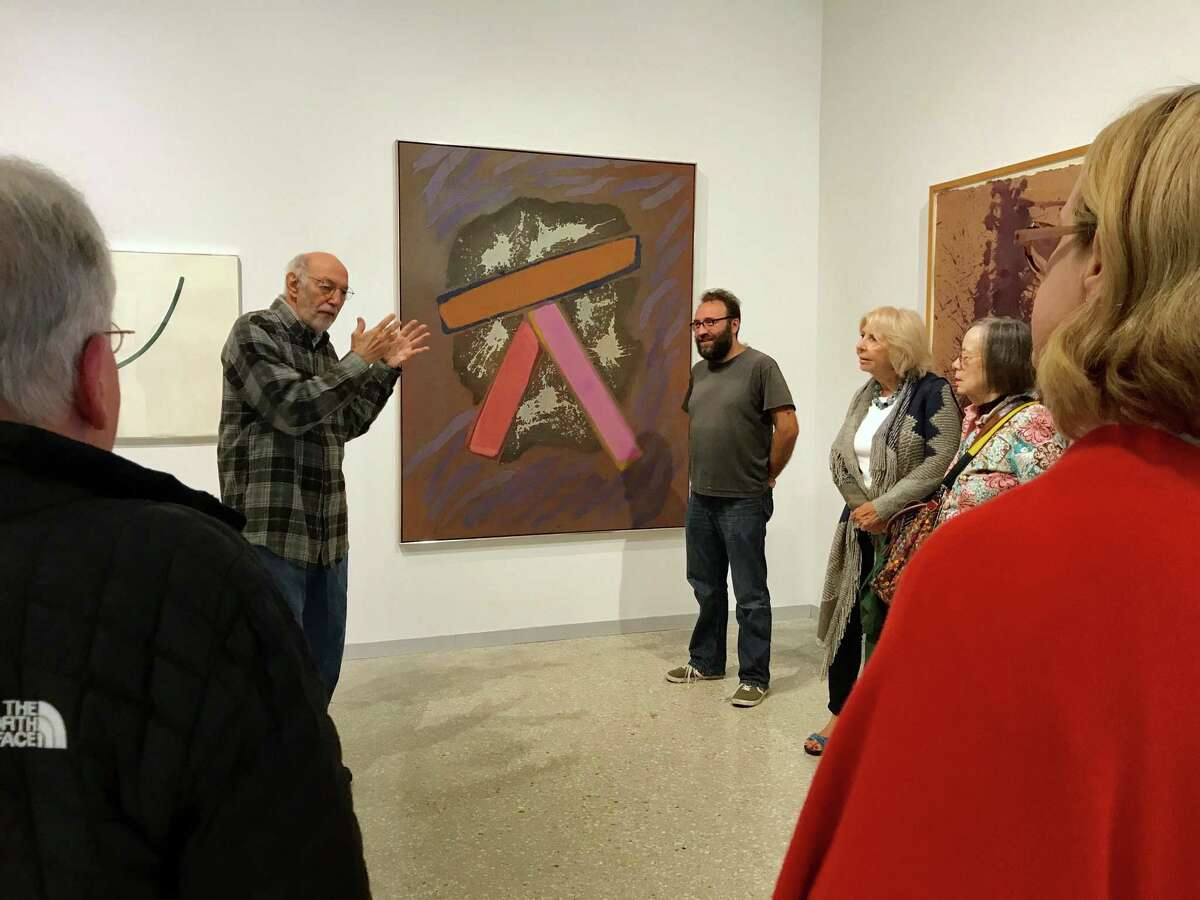 """Artist Basilios Poulos and instructor/author Pete Gershon speak to Gershon's Houston art history class at the Glassell School of Art on Tuesday, Oct. 16, 2018. Poulos discussed his 1982 painting """"Iviron."""""""