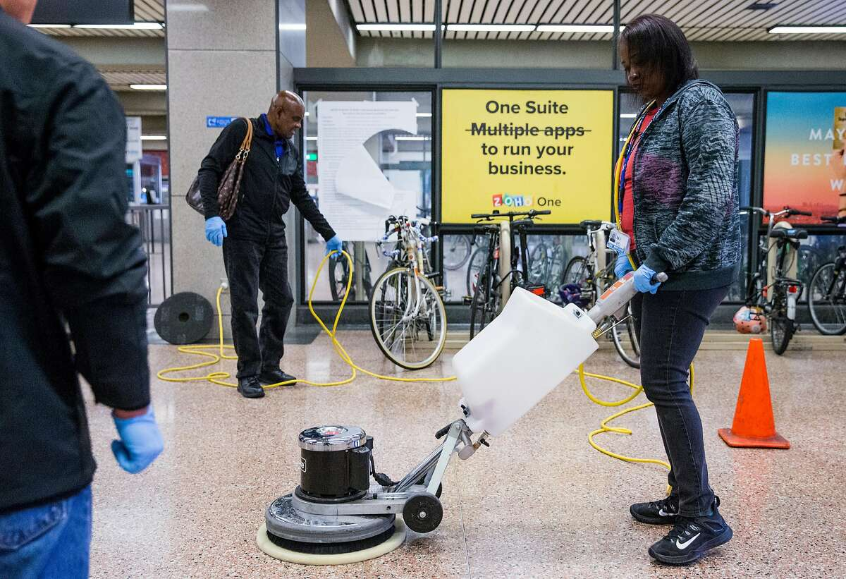 Bart System Service Worker Ebony Daniels practices using a heavy duty power cleaner to clean up biohazards during a training session held at Lake Merritt Bart Station in Oakland, Calif. Friday, Oct. 19, 2018.