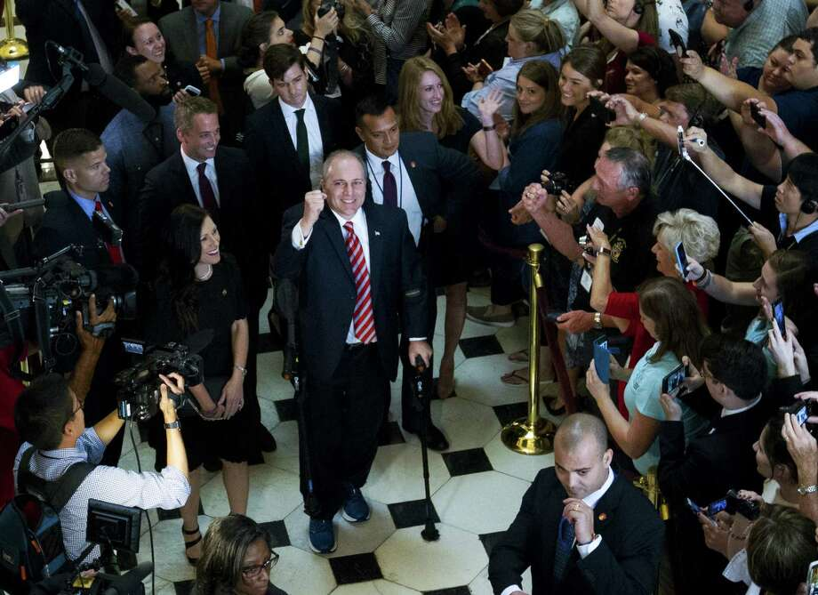 "House Republican Whip Steve Scalise returned to the House in 2017, more than three months after a baseball practice shooting left him fighting for his life. A reader cites the shooting as one reason this country resembles a ""banana republic"" and blames Democrats. Photo: Jose Luis Magana /Associated Press / FR159526 AP"