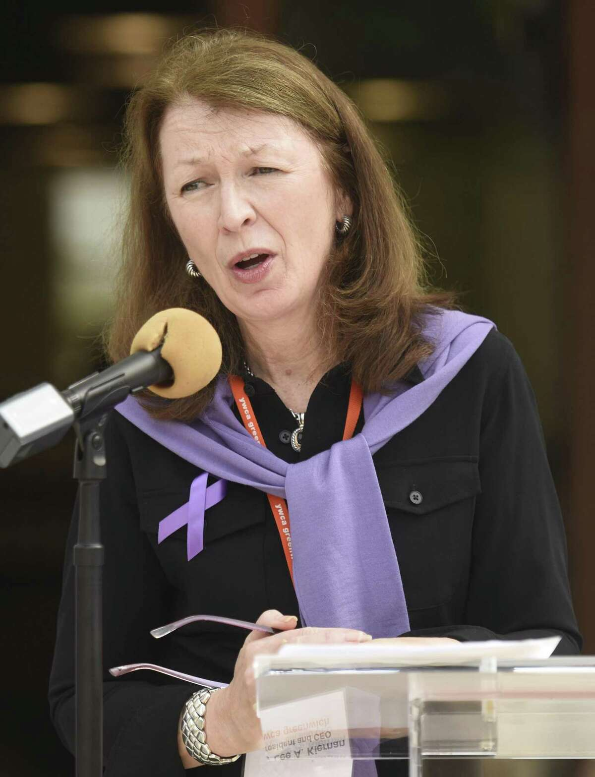 YWCA President and CEO Mary Lee A. Kiernan speaks during the Domestic Violence Awareness and Prevention Month Kickoff at Town Hall in Greenwich Oct. 2.