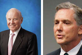 Charles B. Johnson (left), who is believed to own the largest stake in the San Francisco Giants, gave $1,000 this summer to Black Americans for the President's Agenda, a political action committee gave money to a political action committee behind a racist radio ad in Arkansas encouraging voters to support Rep. French Hill (right).