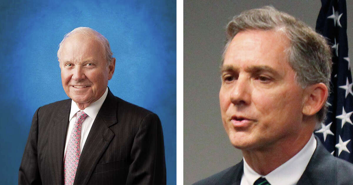 Charles B. Johnson (left), who is believed to own the largest stake in the San Francisco Giants, gave $1,000 this summer to Black Americans for the President's Agenda, a political action committee behind a racist radio ad in Arkansas encouraging voters to support Rep. French Hill (right).