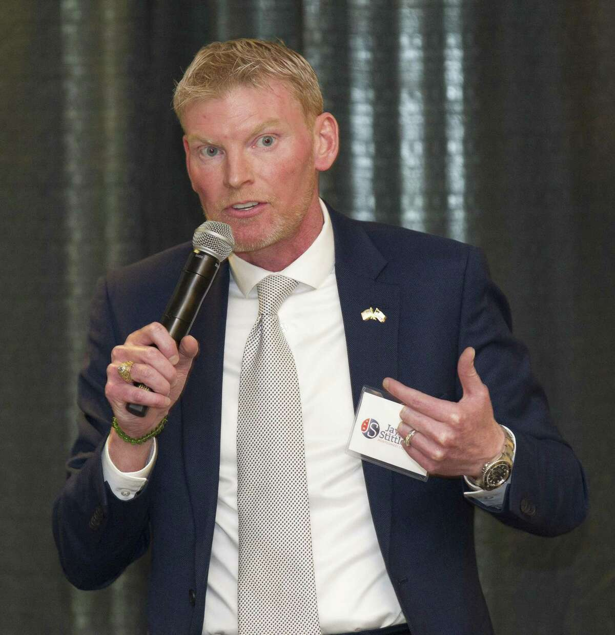 Jay Stittleburg, Democratic candidate for Montgomery County Judge, speaks during the Conroe/Lake Conroe Chamber of Commerce candidate forum at the Lone Star Convention & Expo Center, Tuesday, Feb. 6, 2018, in Conroe.