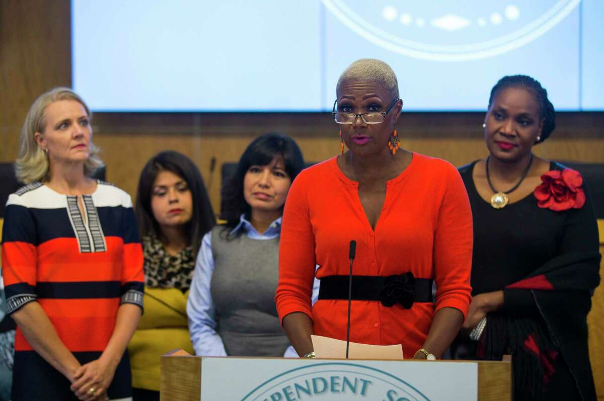 In this 2018 file photo, Houston ISD Trustee Jolanda Jones addresses the media with her fellow trustees during a news conference at the Hattie Mae White Educational Support Center. The HISD community will learn Thursday whether the district faces severe state sanctions tied to chronically low-performing schools.