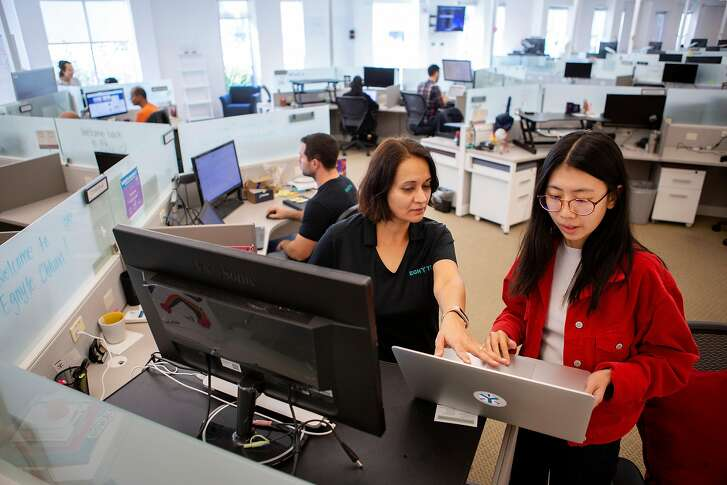 From left: Egnyte's analyst relations director Chhavi Ahuja with data analyst Beichuan Liu at the company headquarters on Friday, Oct. 19, 2018, in Mountain View, Calif.