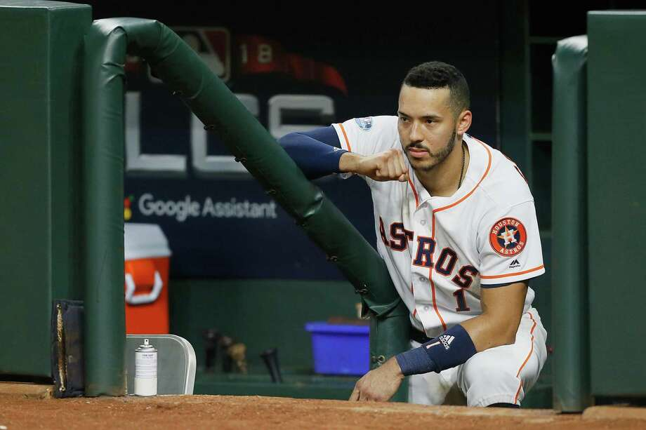 HOUSTON, TX - OCTOBER 18: Carlos Correa #1 of the Houston Astros reacts in the dugout after being defeated by the Boston Red Sox 4-1 in Game Five of the American League Championship Series at Minute Maid Park on October 18, 2018 in Houston, Texas. (Photo by Bob Levey/Getty Images) Photo: Bob Levey, Stringer / Getty Images / 2018 Getty Images