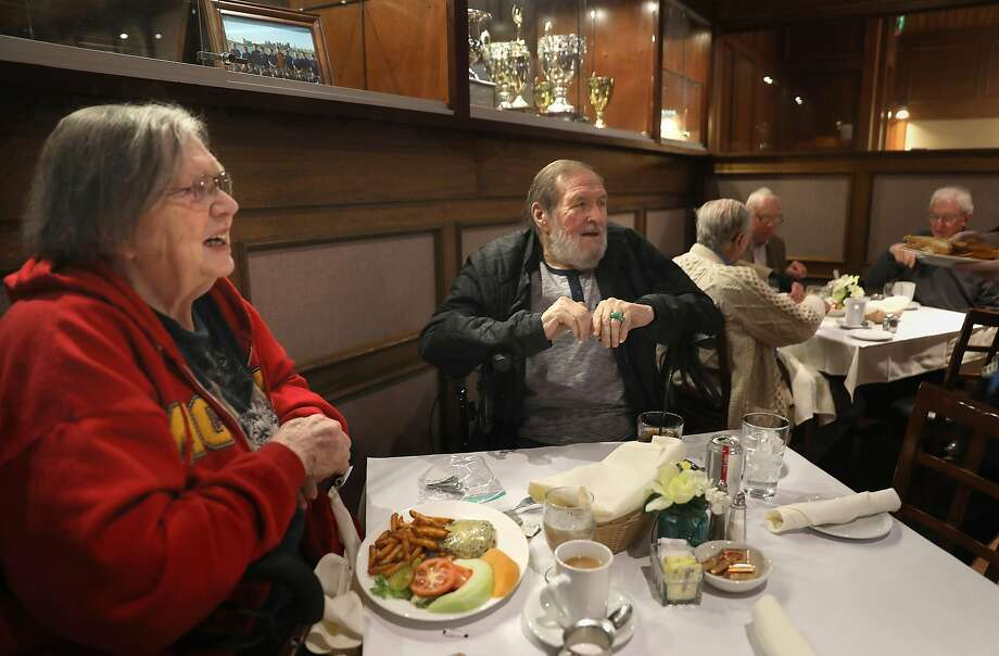 Past United Irish Cultural Center President Joan McClain has lunch with current Vice President Bill Luque at the center's restaurant. Photo: Liz Hafalia / The Chronicle