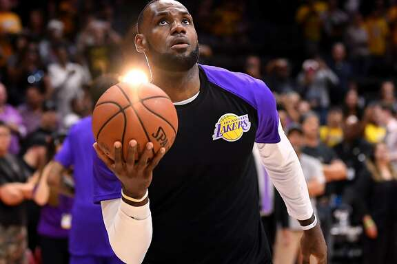 SAN DIEGO, CA - SEPTEMBER 30:  LeBron James #23 of the Los Angeles Lakers warms up before a preseason game against the Denver Nuggets at Valley View Casino Center on September 30, 2018 in San Diego, California.  ~~
