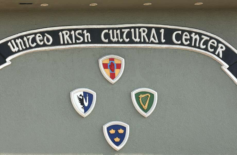 A banner of the United Irish Cultural Center is seen outside its building in San Francisco. Photo: Liz Hafalia / The Chronicle