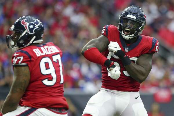 Houston Texans linebacker Whitney Mercilus (59) celebrates a tackle for a loss during the third quarter of an NFL game against the Buffalo Bills at NRG Stadium Sunday, Oct. 14, 2018, in Houston. The Texans won 20-13.