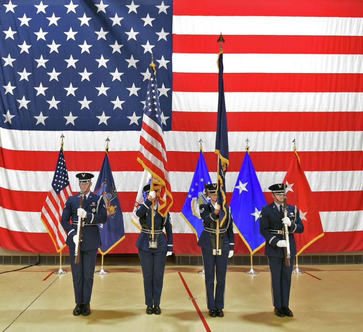 Colors are posted during the Change of Command ceremony at the Division of Military & Naval Affairs Friday Oct. 19, 2018 in Colonie, NY. (John Carl D'Annibale/Times Union)
