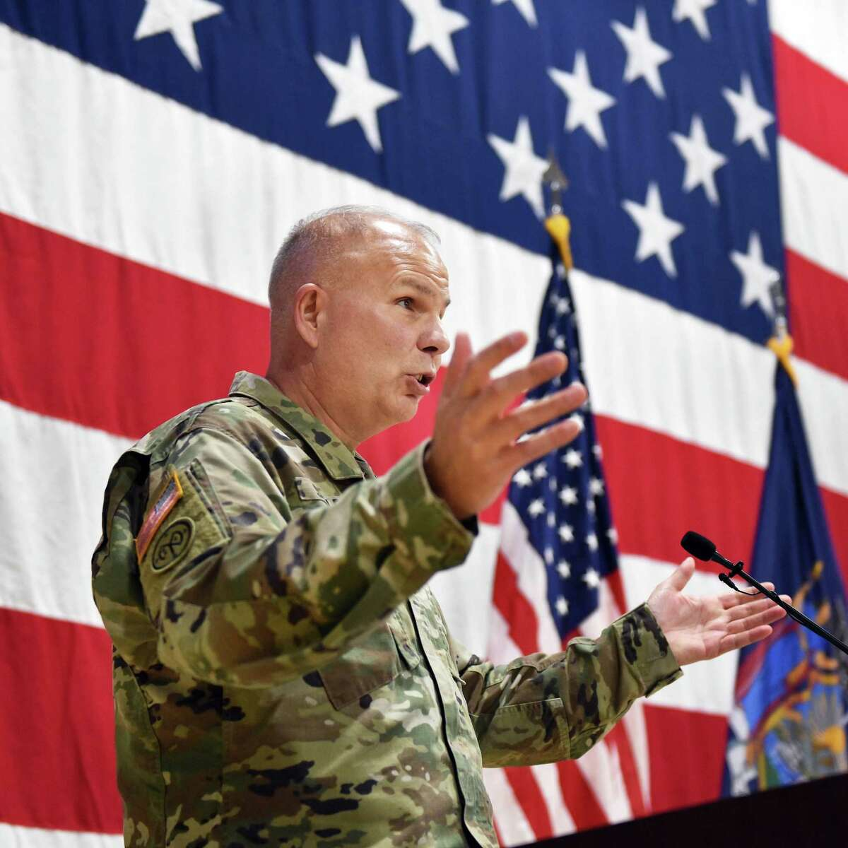 Incoming Adjutant General of the N.Y. National Guard Major General Raymond Shields, Jr., speaks during a Change of Command ceremony at the Division of Military & Naval Affairs Friday Oct. 19, 2018 in Colonie, NY. (John Carl D'Annibale/Times Union)