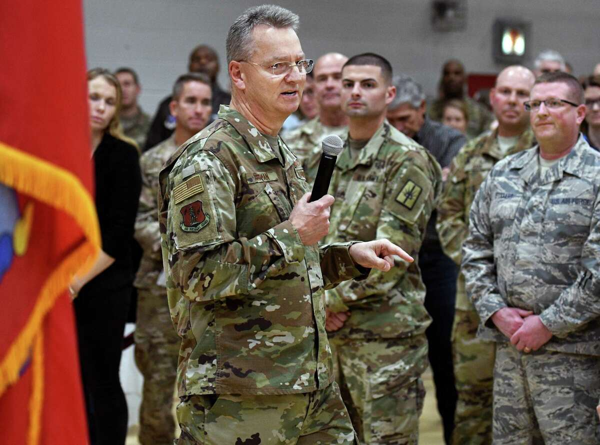 Outgoing Adjutant General of the N.Y. National Guard Major General Anthony German speaks to his troops during a Change of Command ceremony at the Division of Military & Naval Affairs Friday Oct. 19, 2018 in Colonie, NY. (John Carl D'Annibale/Times Union)