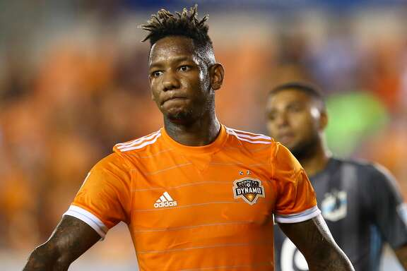 Houston Dynamo forward Romell Quioto (31) reacts after nearly scoring during the second half of an MLS game against the Minnesota United at BBVA Compass Stadium Saturday, July 7, 2018, in Houston. The Dynamo won 3-0. ( Godofredo A. Vasquez / Houston Chronicle )