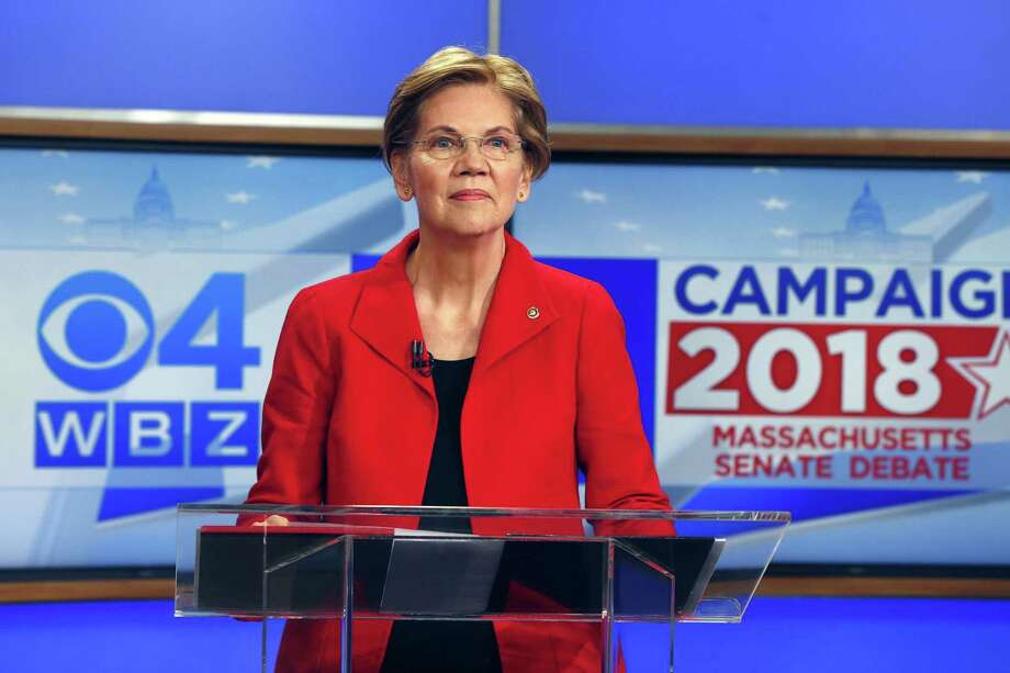 Democratic candidate for U.S. Senate from Massachusetts, incumbent Elizabeth Warren stands at the podium before a debate with her opponent Geoff Diehl in Boston, Friday, Oct. 19, 2018. (AP Photo/Michael Dwyer) Photo: Michael Dwyer, STF / Associated Press / Copyright 2018 The Associated Press. All rights reserved