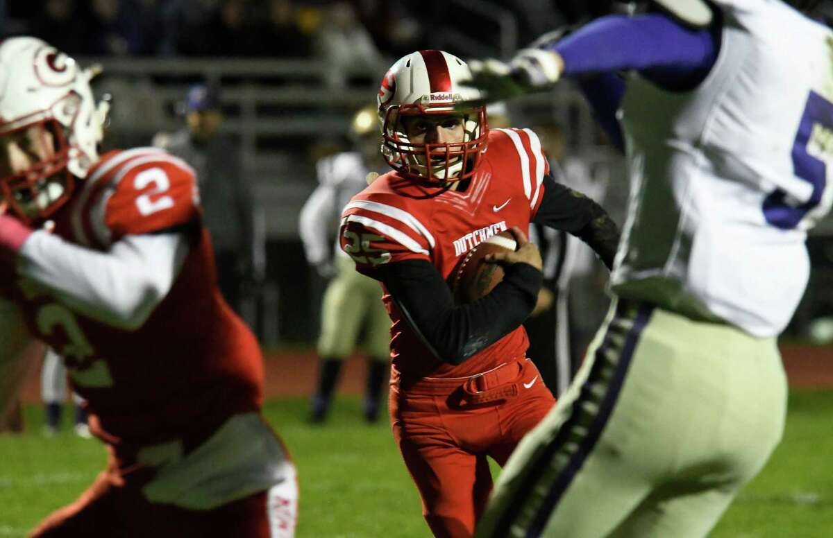 Guilderland running back Vin Lia sees a gap in CBA defense and runs for a first down during a game on Friday, Oct. 19, 2018 in Guilderland, N.Y. (Jenn March, Special to the Times Union )