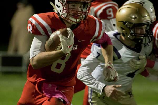 Guilderland running back Conner Traeger breaks for a first down during a game against CBA on Friday, Oct. 19, 2018 in Guilderland, N.Y. (Jenn March, Special to the Times Union )