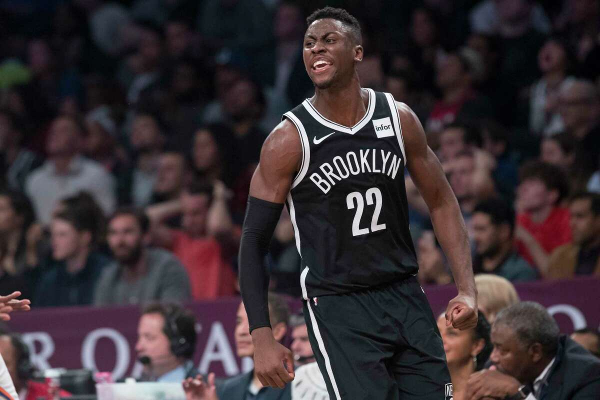 Brooklyn Nets guard Caris LeVert react during the second half of an NBA basketball game against the New York Knicks, Friday, Oct. 19, 2018, in New York. (AP Photo/Mary Altaffer)