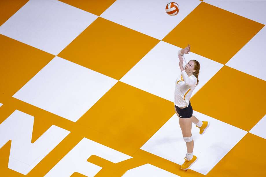 KNOXVILLE, TN - OCTOBER 03, 2018 - Middle blocker Erica Treiber #7 of the  Tennessee Volunteers during the match between the University of Alabama Crimson Tide and the Tennessee Volunteers at Thompson-Boling Arena in Knoxville, TN. Photo By Andrew Ferguson/Tennessee Athletics Photo: Andrew Ferguson/Tennessee Athlet, Tennessee Athletics