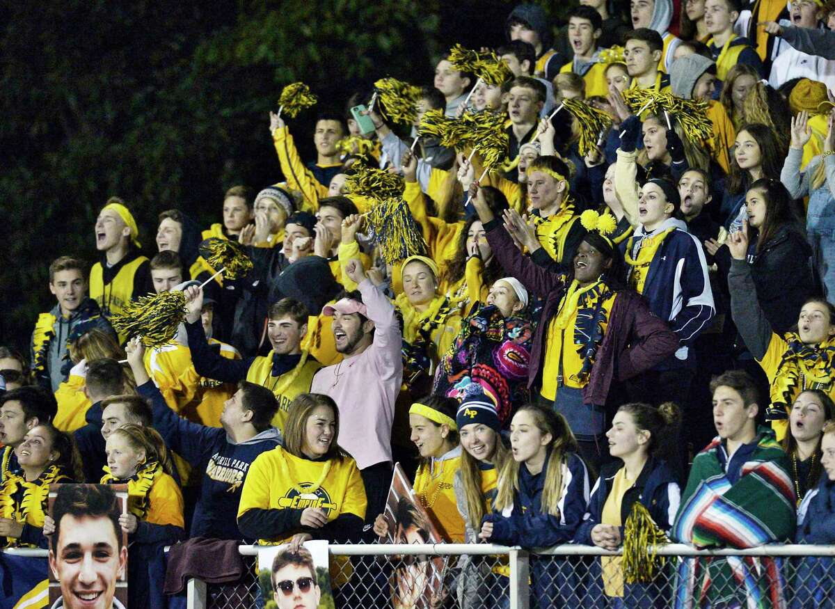 Averill Park students cheer on their team during their Class A quarterfinal against Ballston Spa Friday Oct. 19, 2018 in Averill Park, NY. (John Carl D'Annibale/Times Union)