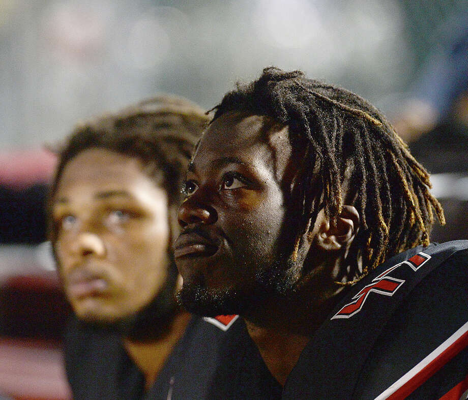 Port Arthur Memorial's Jordon Thomas takes in the sideline commentary as they face Porter during their match-up Friday night in Port Arthur. Photo taken Friday, October 19, 2018 Kim Brent/The Enterprise Photo: Kim Brent/The Enterprise