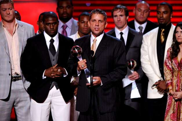 LOS ANGELES, CA - JULY 14:  Coach Sean Payton speaks onstage as the New Orleans Saints accept the ESPY for Best Team onstage during the 2010 ESPY Awards at Nokia Theatre L.A. Live on July 14, 2010 in Los Angeles, California.  (Photo by Kevin Winter/Getty Images) *** Local Caption *** Sean Payton Photo: Kevin Winter, Getty Images / 2010 Getty Images